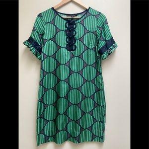 Liquid Black Green Silk Print Short Sleeve Dress